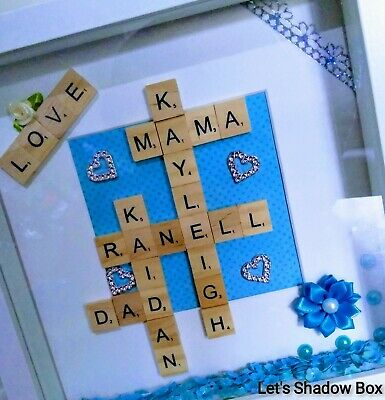 Personalised Family Children Love Name Scrabble Picture Box Frame Gift Present • 17.99£