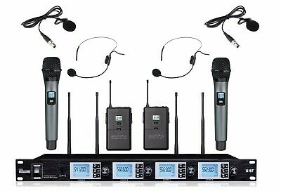 Wireless Microphone System Cordless Mic Set W Handheld/Lapel/Headset/Bodypack • 211.57£