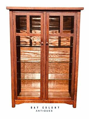 $1275 • Buy 20th C Antique Arts & Crafts / Mission Oak Bookcase / China Cabinet