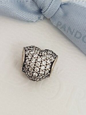 AU36 • Buy Authentic Genuine Pandora Silver Clear Pave Set Heart Charm  791052CZ