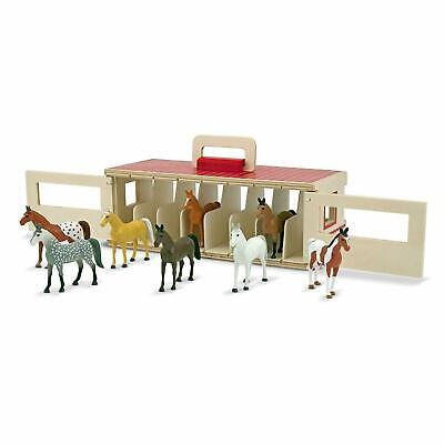 Take Along Show Horse Wooden Stable 8 Toy Ponies Play Set Melissa & DOug • 25.20£
