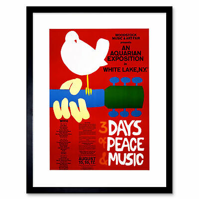 Music Festival Concert Woodstock Ny Peace Dove Love Legend Art Print 12x16 Inch • 24.50£