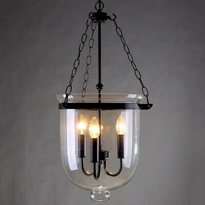 $159.99 • Buy Retro Clear Glass Shade Bell Jar Kitchen Pendant Light With 3 Candle Like Lights