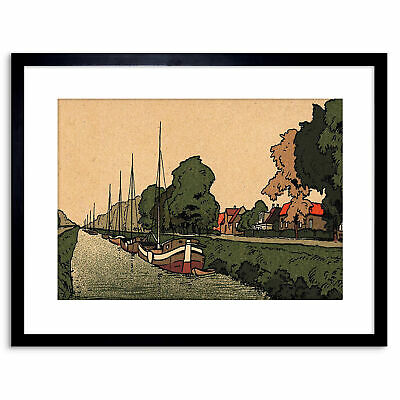 £14.50 • Buy Painting Netherlands New Canal Amsterdam Boat Barge Framed Print 9x7 Inch