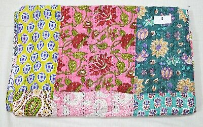 £35.99 • Buy Indian Cotton Patchwork Bedding Bedspread Bed Cover Throw Blanket Kantha Quilt