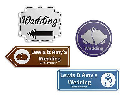 £13.99 • Buy PERSONALISED Wedding Direction Signs Arrow Bespoke Plaque Outdoor Sign Boards