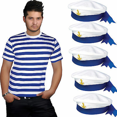 New Men's Red & White Blue Stripes T-shirt Sailor Hat Adult Fancy Dress Outfit • 2.99£