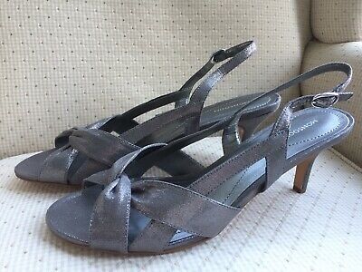 Womens Monsoon Pewter Strappy Ankle Strap Mid Heel Sandals Shoes Size Uk 8 • 9£