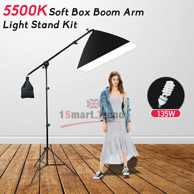 675W Photography Studio Softbox Continuous Lighting Light Stand  Boom Arm KIT-UK • 35.97£