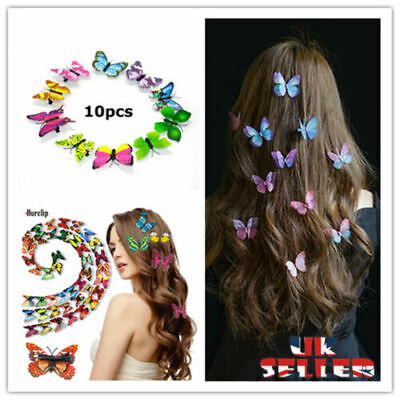 £3.99 • Buy 3D 10Pcs Butterfly Hair Clips Mixed Imitation Festival Summer Party Wedding Gift