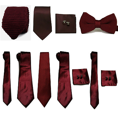£4.99 • Buy Maroon Burgundy Collection Woven Paisley Silky Knitted Tie Bowtie Wedding Lot