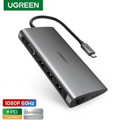 AU79.95 • Buy Ugreen Type-C Hub 8 In 1 1080p VGA USB 3.0 Data Ethernet Adapter Mac Huawei AU