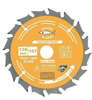 £7.95 • Buy 136mm X 20mm X 16T Thin Kerf Circular TCT Saw Blade For Cordless Saws By Shark