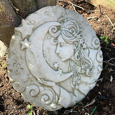 Stone Outdoor Garden Fortune Teller Lady Stars & Moon Wall Sculpture CLEARANCE • 19.99£