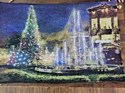 Christmas Scene Waterfall Fibre Optic Lights Wall Tapestry Decoration • 19.99£
