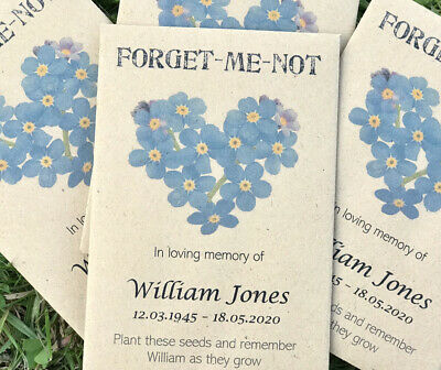 10 Personalised Forget-Me-Not Seeds Funeral  Memorial Memory Remembrance Favours • 5.50£