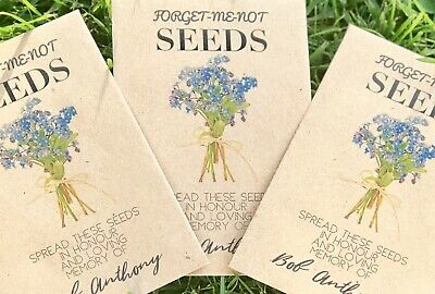 10 Personalised Forget-Me-Not Seeds Funeral Memorial In Memory Of Remembrance • 5£