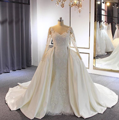 $ CDN226.13 • Buy Vintage V Neck Beaded Sequins Lace Wedding Dresses Bridal Gowns Detachable Train