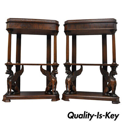 $20000 • Buy Pair Of Mahogany Regency Style Carved Griffin Bookcase Curio Stands Horner Style