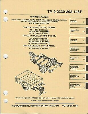 $25 • Buy Historical Book On Trailer, Cargo, 3/4 Ton, M101, M116 Series, Maint/Parts, 1993