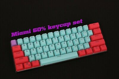 61 Key PBT Thick 60% Keycaps Miami ANSI Layout For Mechanical Keyboards Backlit • 22.99£