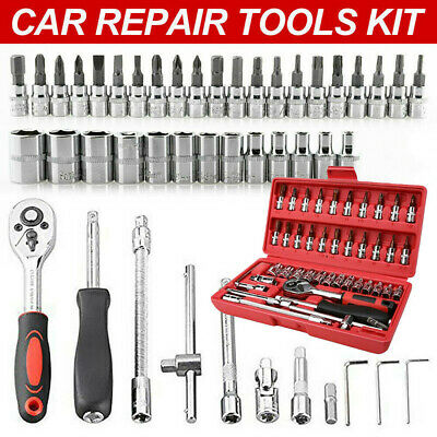 46Pc Metric Socket Set 1/4  Wrench Torx Ratchet Driver Screwdriver Bit Extension • 11.09£
