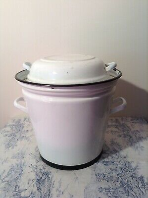 Rare Vintage French Enamel Lessiveuse - Wash Bucket With Lid - Coal Scuttle • 65£
