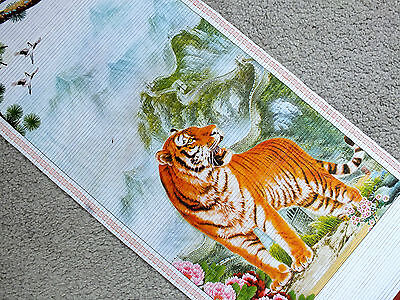 Chinese Bamboo Cane Wall Hanging Scroll Picture Tiger Mountain Birthday 6-12 • 8.29£