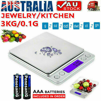 AU12.99 • Buy 3kg/0.1g Kitchen Digital Scale LCD Electronic Balance Food Weight Postal Scales