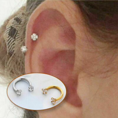 Clear Cubic Zirconia Stainless Steel MultiFunctional Captive U Ring Ear Piercing • 2.49£