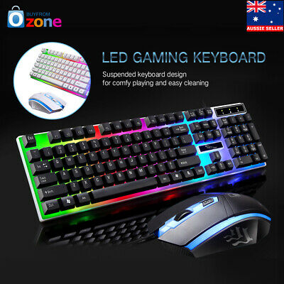 AU18.99 • Buy NEW Pro Gaming Keyboard And Mouse Sets Adapter Rainbow LED For PC Laptop PS3 360