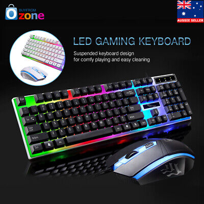 AU21.46 • Buy Pro Gaming Keyboard And Mouse Sets Adapter Rainbow LED For PC Laptop PS3 360