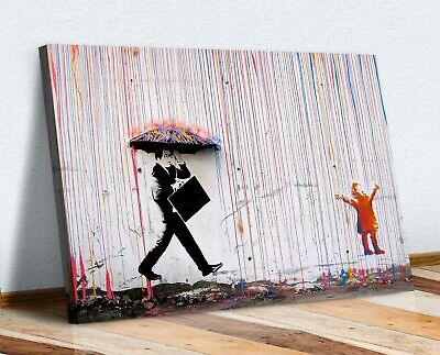Banksy Coloured Rain Canvas Wall Art Picture Print - Street Art • 12.99£
