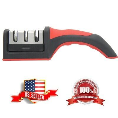 Knife Sharpener Professional Tungsten Ceramic Kitchen Sharpening System Tool • 6.45$