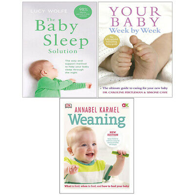 Weaning New Edition, Your Baby Week By Week, Baby Sleep 3 Books Collection Set   • 35.99£
