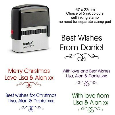 £12.95 • Buy Personalised Christmas Rubber Stamp Family Names Scroll Cards Tags Gifts Labels