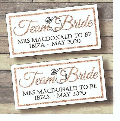 £4.50 • Buy 2 X PERSONALISED HEN PARTY BANNERS Rose Gold Glitter Team Bride Hen Night Banner