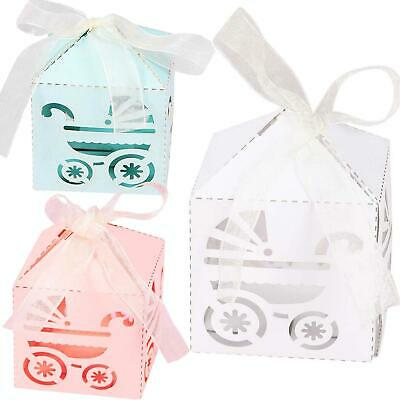 Pearlised Laser Cut Baby Shower Favours - Christening With Ribbon • 5.99£