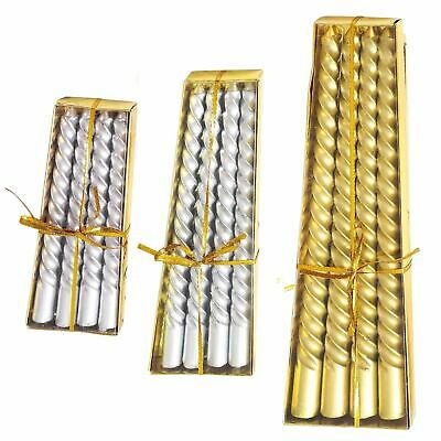 £4.99 • Buy Metallic Slim Twisted Taper Candles - Church Pillar 3 SIZE AVAILABLE GOLD SILVER