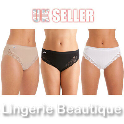 3 Pack La Marquise Ladies Cotton High Leg Briefs Knickers With Lace Size 10 - 18 • 8.49£