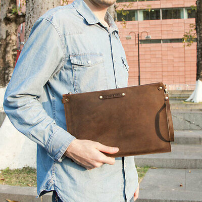$35.99 • Buy Luxury Genuine Leather Ipad Sleeve Case Hand Bag Zipper Pouch For IPad Pro 12.9