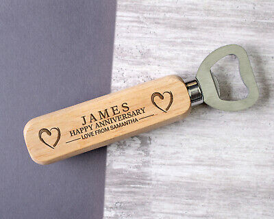 Personalised 1st 5th 10th 25th Anniversary Wooden Bottle Opener Gifts For Him • 5.99£