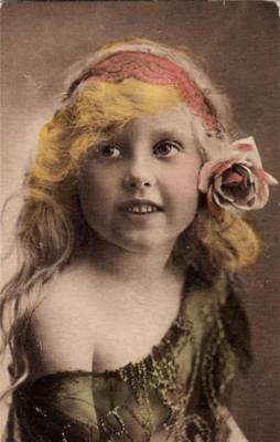 DC78. Vintage Tinted Postcard. Girl With A Headband And Rose In Her Hair. • 2.50£