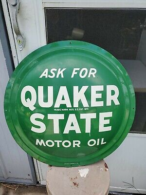 Vintage 1950's Quaker State Motor Oil Gas Station 24  Bubble Front Metal Sign • 595$