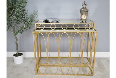 Gold & Glass Metal Nest Set Of 2 Console Side Hall Tables (dx6466) • 215£