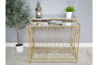 Gold & Glass Metal Nest Set Of 2 Console Side Hall Tables (dx6467) • 235£