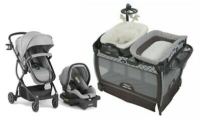 $592 • Buy Baby Stroller Travel System With Car Seat Portable Playard Bassinet Rocker New