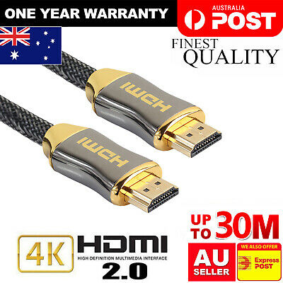 AU12.99 • Buy Premium Gold Plated HDMI To HDMI Cable Ultra HD 4K Premium V2.0 1m 2m 3m 5m 15m