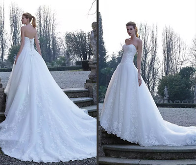 $ CDN165.03 • Buy Elegant White A Line Sweetheart Lace Wedding Dresses Chapel Train Bridal Gowns