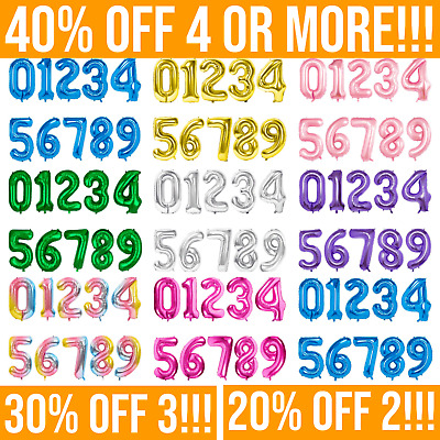 """32"""" 40"""" Giant NUMBERS 0-9 FOIL BALLOONS. Air Or Helium Inflate. Birthday Party • 2.99£"""